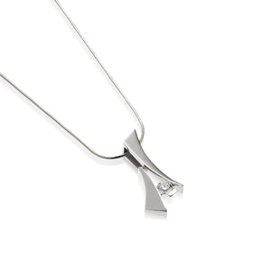 Women's 14-karat White Gold Oyster Solitaire Diamond Pendant Necklace