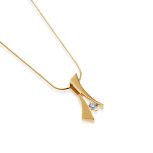 Women's 14-karat Yellow Gold Oyster Solitaire Diamond Pendant Necklace