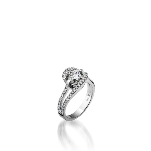 White Gold Bellissima Pave Diamond Engagement Ring