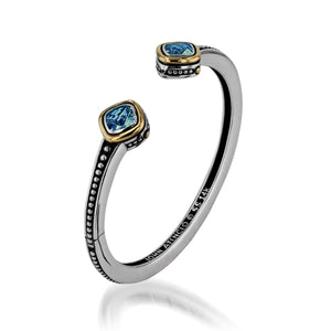Women's Sterling Silver and 14-karat yellow gold Chorus Blue Topaz Cuff