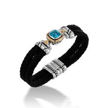 Load image into Gallery viewer, Chorus Blue Topaz Gemstone Leather Cuff Bracelet