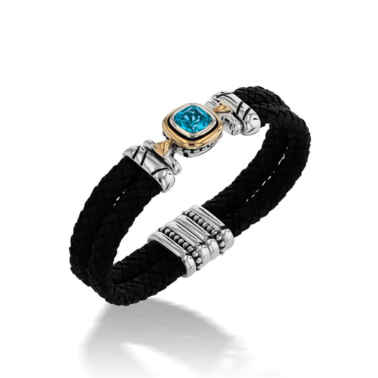 Chorus Blue Topaz Gemstone Leather Cuff Bracelet