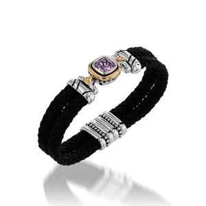 Chorus Amethyst Gemstone Leather Cuff Bracelet