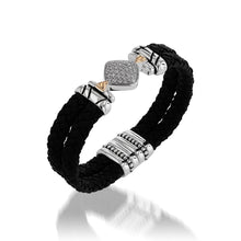 Load image into Gallery viewer, Deco Leather Cuff Bracelet with Pave Diamonds