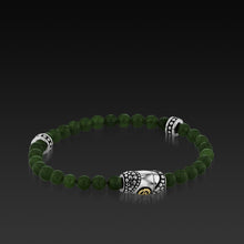 Load image into Gallery viewer, Mens Matrix Green Jade Beaded Bracelet with a 14KT gold and Sterling Silver Magnetic Clasp