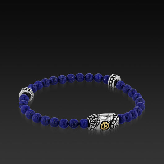 Mens Matrix Lapis Beaded Bracelet with a 14KT gold and Sterling Silver Magnetic Clasp