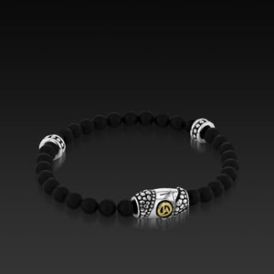 Mens Matrix Black Agate Beaded Bracelet with a 14KT gold and Sterling Silver Magnetic Clasp