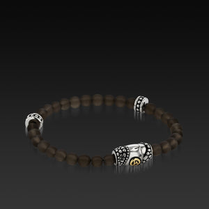 Mens Matrix Smoky Quartz Beaded Bracelet with a 14KT gold and Sterling Silver Magnetic Clasp