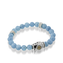 Load image into Gallery viewer, Women's 14K yellow gold and silver details Solar Aquamarine and Diamond Beaded Bracelet