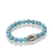 Load image into Gallery viewer, Women's 14K yellow gold and silver details Solar Turquoise and Diamond Beaded Bracelet