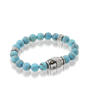 Women's 14K yellow gold and silver details Solar Turquoise and Diamond Beaded Bracelet