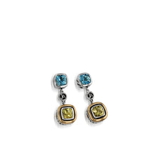 Load image into Gallery viewer, Women's Sterling Silver and 14 karat Yellow Gold Chorus Lemon Quartz Dangle Earrings