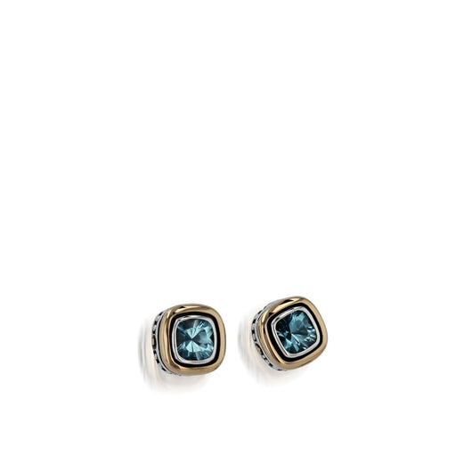 Women's Sterling Silver and 14 karat Yellow Gold Chorus Blue Topaz Stud Earrings