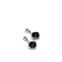 Load image into Gallery viewer, Women's Sterling Silver and 14 karat Yellow Gold Deco Pave Black Onyx Dangle Earrings