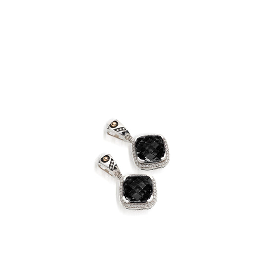 Women's Sterling Silver and 14 karat Yellow Gold Deco Pave Black Onyx Dangle Earrings