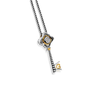 Women's Sterling silver and 14 karat yellow gold Chorus Pave Key Pendant
