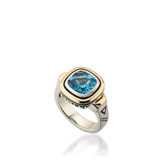 Women's Sterling Silver and 14 karat Yellow Gold Chorus Blue Topaz Ring