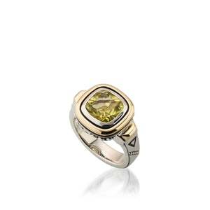 Women's Sterling Silver and 14 karat Yellow Gold Chorus Lemon Quartz Ring