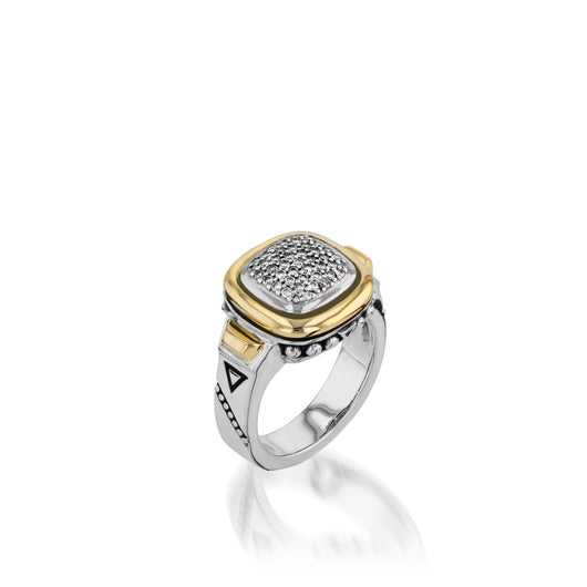 Women's Sterling Silver and 14 karat Yellow Gold Chorus Diamond Ring