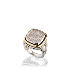 Women's Sterling Silver and 14 karat Yellow Gold Chorus Diamond Pave Ring