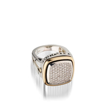 Load image into Gallery viewer, Women's Sterling Silver and 14 karat Yellow Gold Chorus Diamond Pave Ring