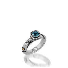 Load image into Gallery viewer, Women's Sterling Silver and 14 karat Yellow Gold Chorus Blue Topaz Stack Ring