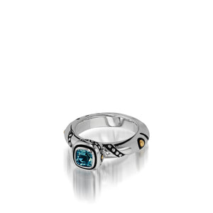 Women's Sterling Silver and 14 karat Yellow Gold Chorus Blue Topaz Stack Ring