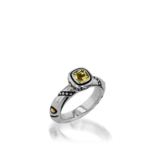Women's Sterling Silver and 14 karat Yellow Gold Chorus Lemon Quartz Stack Ring