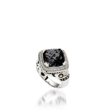 Load image into Gallery viewer, Women's Sterling Silver and 14 karat Yellow Gold Deco Pave Black Onyx Ring