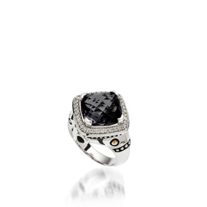 Women's Sterling Silver and 14 karat Yellow Gold Deco Pave Black Onyx Ring