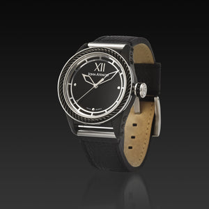 Men's Black Iconic Plated Pantheon I Watch with Leather Band