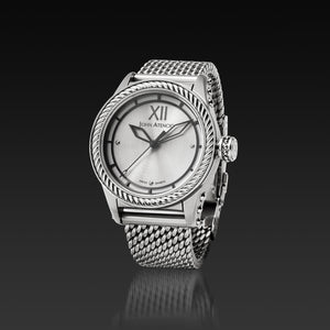Men's Silver Iconic Plated Pantheon III Watch with Milanese Mesh Band