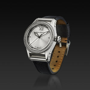 Men's Silver Iconic Plated Pantheon III Watch with Leather Band