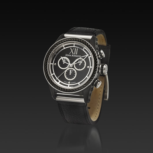 Men's Black Iconic Plated Pantheon IV Chronograph Watch with a Black Leather Band