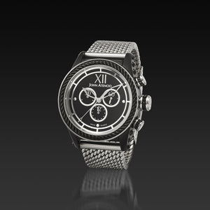 Men's Black Iconic Plated Pantheon IV Chronograph Watch with a Milanese Band