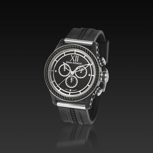 Men's Black Iconic Plated Pantheon IV Chronograph Watch with High Performance Elastomer Band