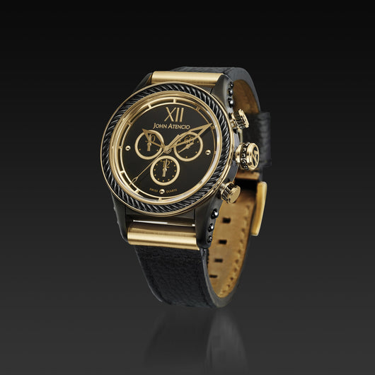 Men's Black Iconic Plated Pantheon V Chronograph Watch with Black Leather Band
