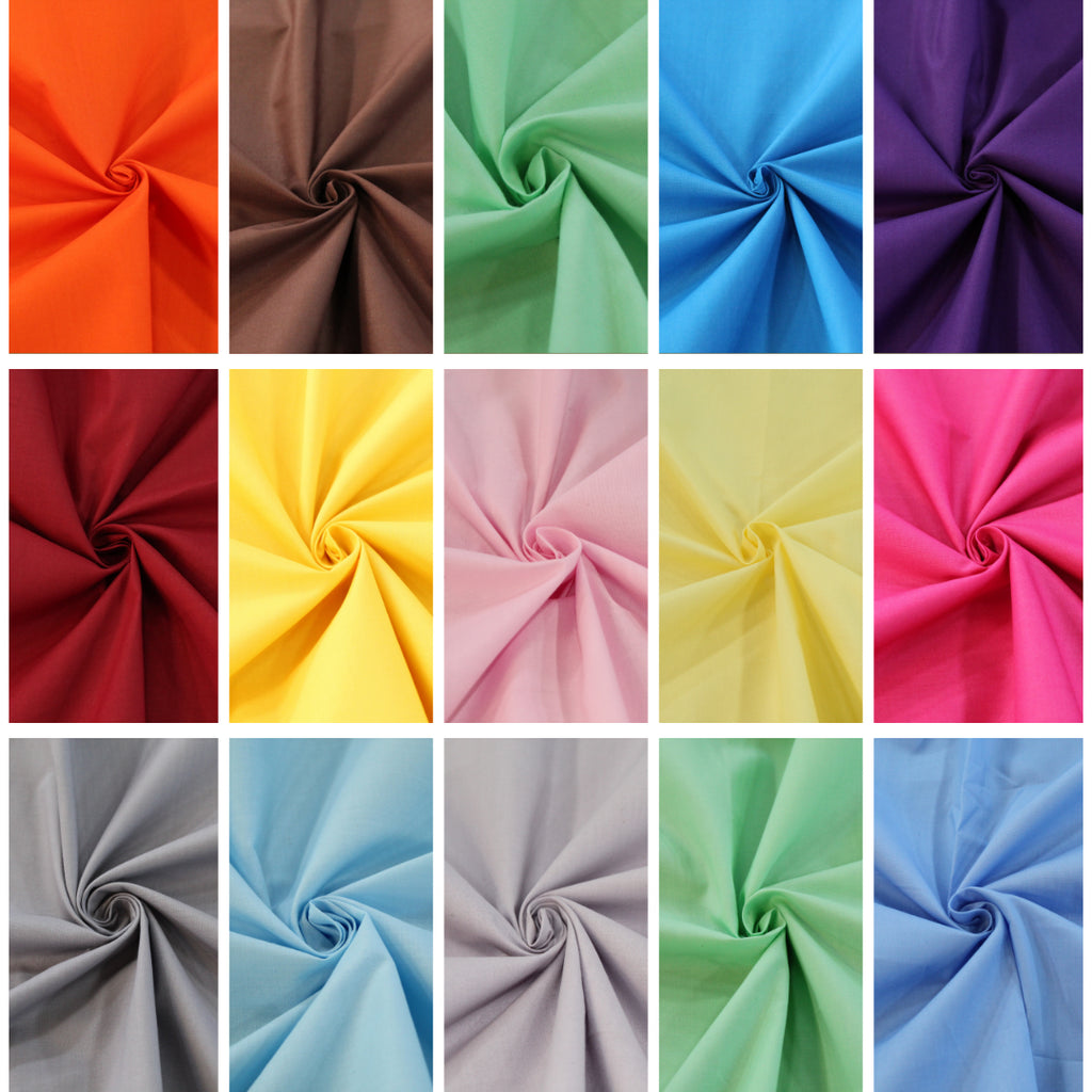 "100% Cotton Plain Poplin Scrubs Fabric- Premium Quality 14 Colours 44"" Wide"
