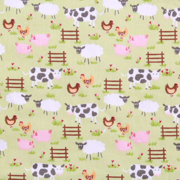Farmyard Animals Printed Polycotton Fabric 45