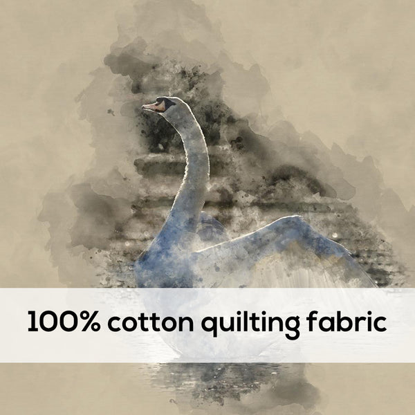 'Swan' 100% Quilting Cotton Cushion Panel- 18