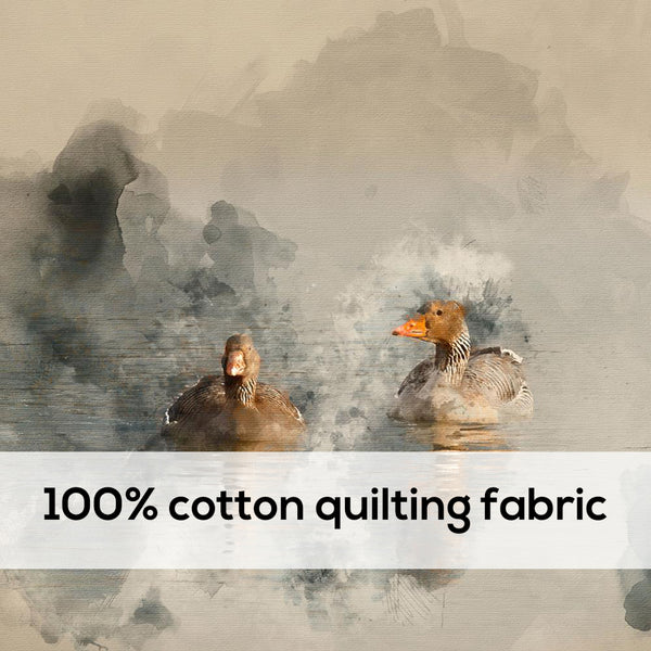 'Ducks' 100% Quilting Cotton Cushion Panel- 18