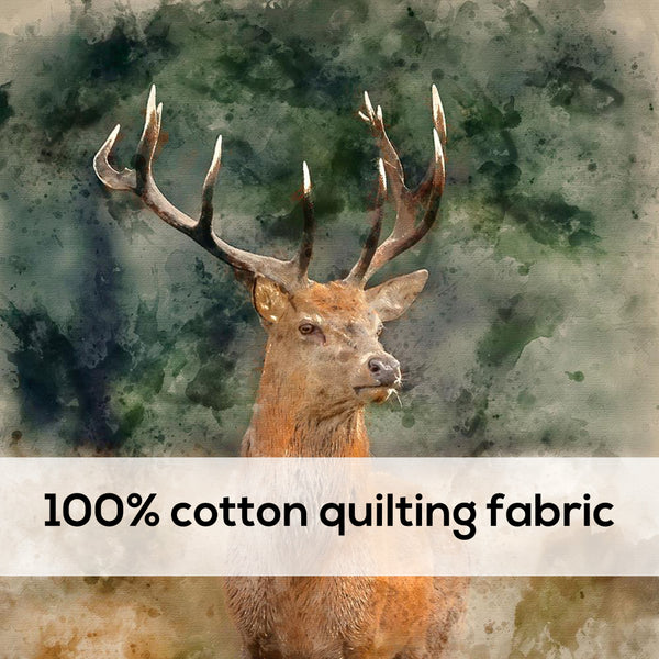 'Red Deer' 100% Quilting Cotton Cushion Panel- 18