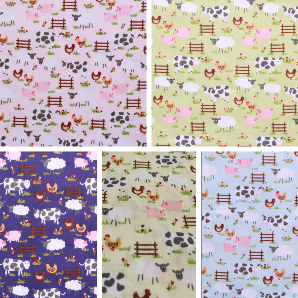 "Farmyard Animals Printed Polycotton Fabric 45""- 4 Colours"