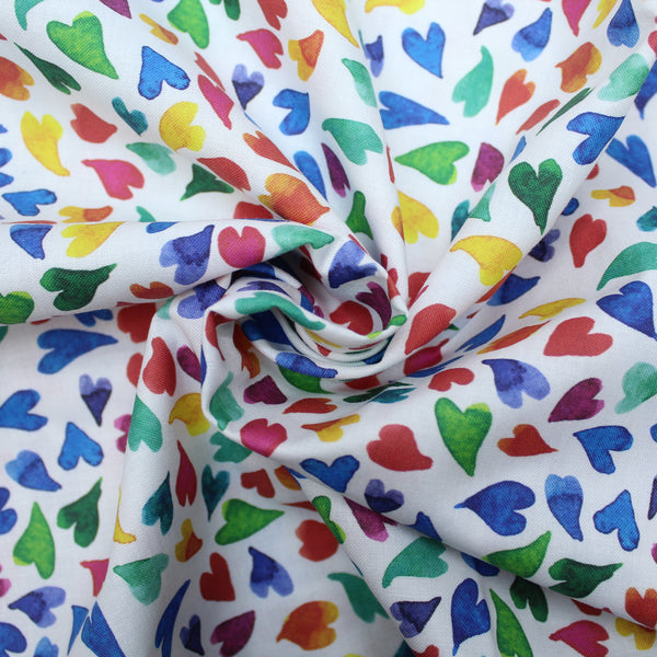 Premium 100% Quilting Cotton 'Slim Hearts' 150cm Wide