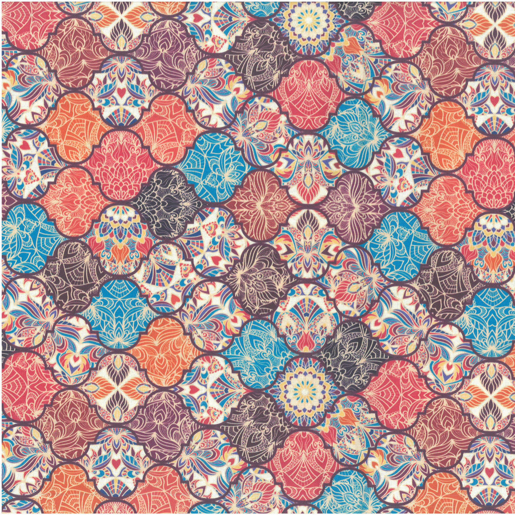 Premium 100% Quilting Cotton 'Indian Tiles' 150cm Wide