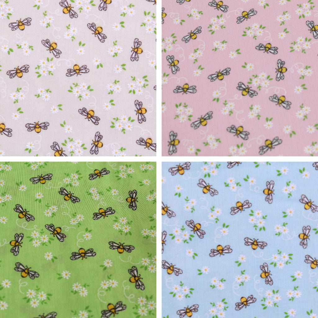 "Busy Bees & Flowers Polycotton Fabric 45""- 4 Colours"