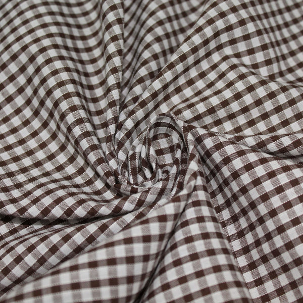 Gingham Checks Woven Polycotton Fabric - 5 Colours 45 Wide Half Metre / Brown