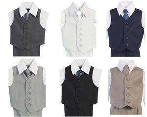 Lito 4 piece Vest Set | Charcoal & White | 6-24 Mths