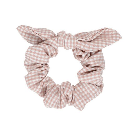 Pink Check Scrunchie Bow