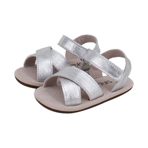 Pre-walker Cross Leather Sandals Silver